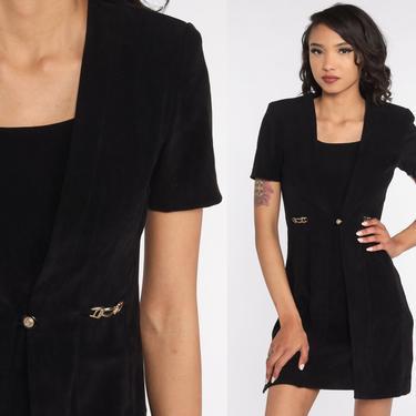 90s Black Mini Dress Sheath Dress Plain Black Dress Vintage Pleated Dress 1990s Club Party Dress Short Sleeve Small S by ShopExile