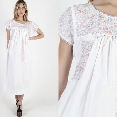 White Womens Oaxacan Maxi Dress Vintage 70s Cotton Mexican Pastel Floral Hand Embroidered Long Made In Mexico Quinceanera Dress by americanarchive