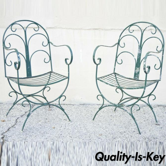 Italian Hollywood Regency Green Wrought Iron Curule Garden Arm Chairs - a Pair