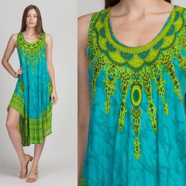 90s Hippie High-Low Hem Dress - One Size | Vintage Blue Green Boho Midi Festival Sundress by FlyingAppleVintage