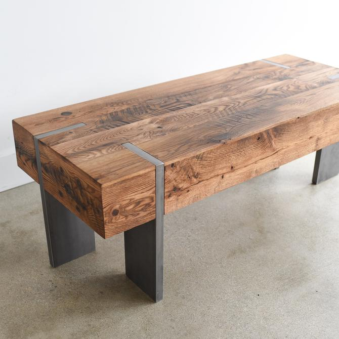 Modern Coffee Table /  Reclaimed Wood Rectangle Cocktail Table with Solid Steel Legs by wwmake