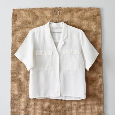 vintage boxy blouse, white button down shirt, size M by ImprovGoods