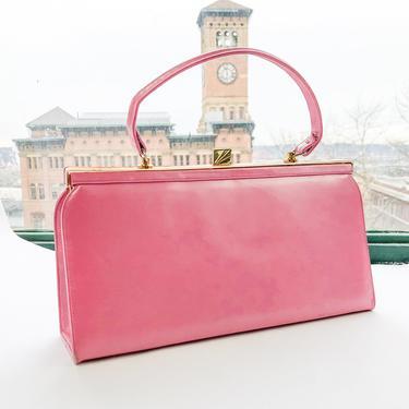 1950s Pink Leather Handbag   50s Bright Pink Leather Purse   Andrew Geller by GlennasVintageShop
