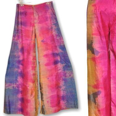"70's Women's Wide Leg Silk Blend Pants Pink Purple Tie Dye Gaucho Pant 28"" by TheUnapologeticSoul"