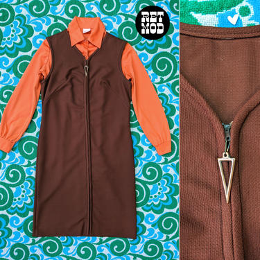 Cute Vintage 60s 70s Brown Jumper Dress with a Front Zipper Pull by RETMOD