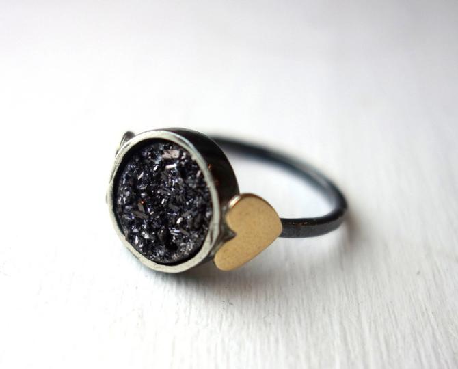 Black Drusy Sweetheart Ring- Midnight Black Drusy with Brass Hearts by RachelPfefferDesigns