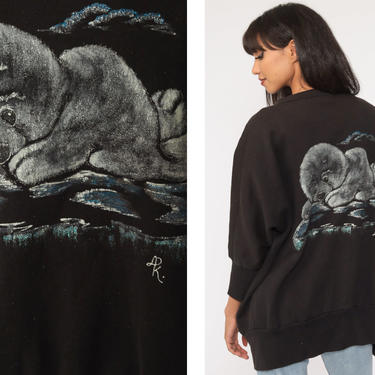 Baby Seal Cardigan Sweatshirt Black Hand Painted Shirt 80s Graphic Animal Sweatshirt 90s Vintage Open Front Small Medium Large by ShopExile
