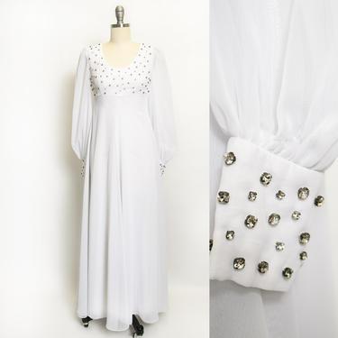1960s Dress White Chiffon Rhinestone Wedding Maxi Gown XS by dejavintageboutique