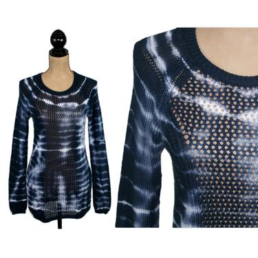 Navy Blue Tie Dye Knit Sweater Women, Cotton Open Weave Pointelle Pullover, Long Tunic Crochet Top, Hippie Boho Clothes, Vintage 90s Y2K by MagpieandOtis