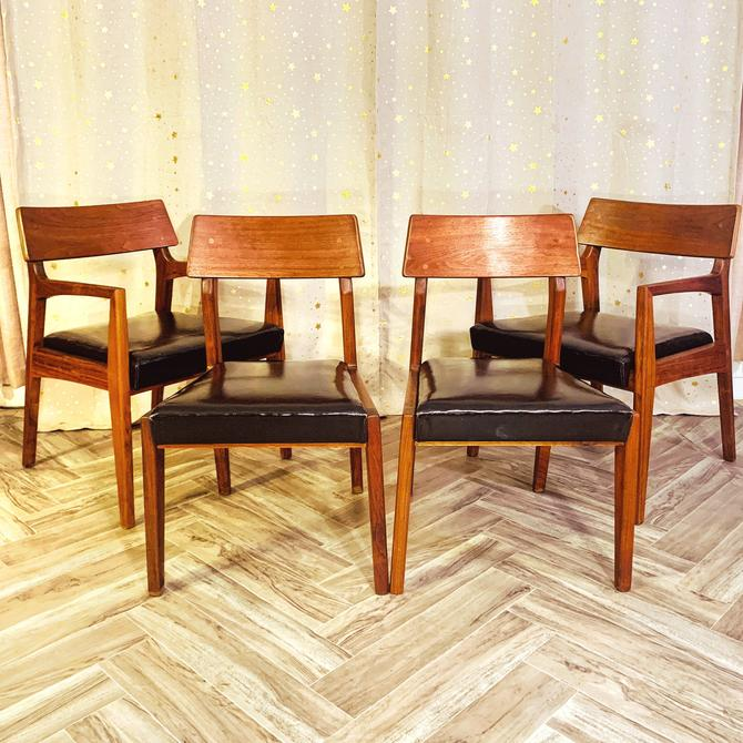Vintage MCM Walnut Dining Chairs by John Stuart for Mt Airy Chair Company by OMGaudyLA