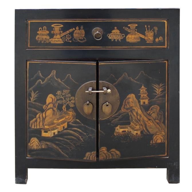 Oriental Black Lacquer Golden Scenery Graphic End Table Nightstand cs5006S