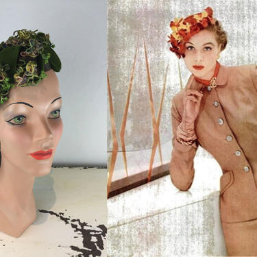 Autumn Foliage - Vintage 1950s Fern Green Silk Velvet Open Caplet Hat w/Ombre Autumn Floral Buds Leaves by RoadsLessTravelled2