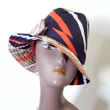 Frank Olive 1960s silk bucket hat, orange cloche hat, 60s vintage hats women, mod sun hat by ErstwhileStyle