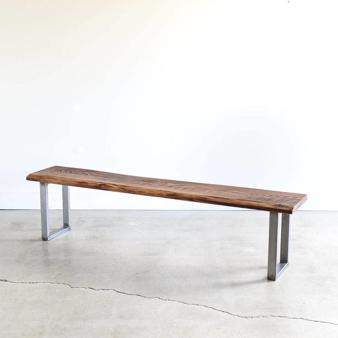 Live Edge Bench made from Reclaimed Barn Wood / Industrial Entryway Bench by wwmake