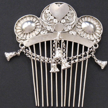 Antique Silver Heart Hair Comb, Antique German Comb, Georgian Era Hair Comb, Hair Jewelry, Bridal Comb Wedding Accessory, Anniversary Gift by CombAgain