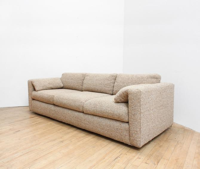 Vintage 70s/ 80s Neutral Textile Sofa Couch California Look Michael Taylor Ultra Nubby Sofa by 330Modern