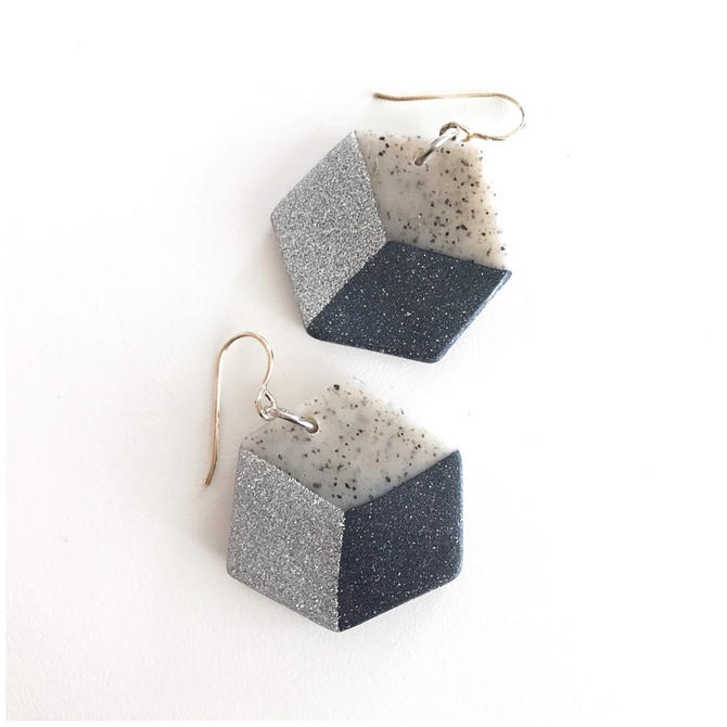 Cube earrings - handmade with polymer clay and sterling silver wire by ChrisBergmanHandmade