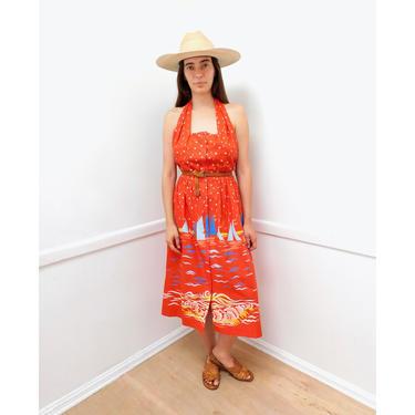 Sailboat Dress // vintage 70s sun moon star stars halter midi 1970s boho hippie cotton hippy // M Medium by FenixVintage
