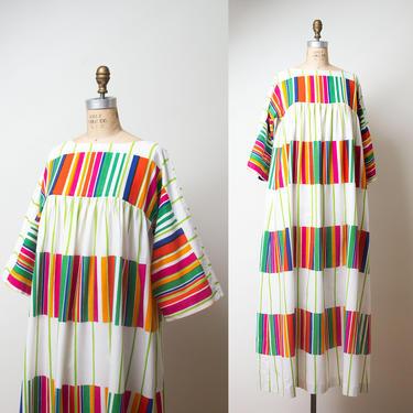 1970s Marimekko Dress / 70s Liidokki Rainbow Striped Caftan by FemaleHysteria