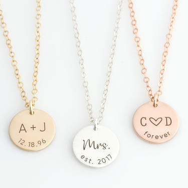 Personalized Anniversary Date Necklace Valentine's Gift for Wife, Forever Necklace, Initials and Date Necklace, Valentine's Day Gift for Her by LEILAjewelryshop