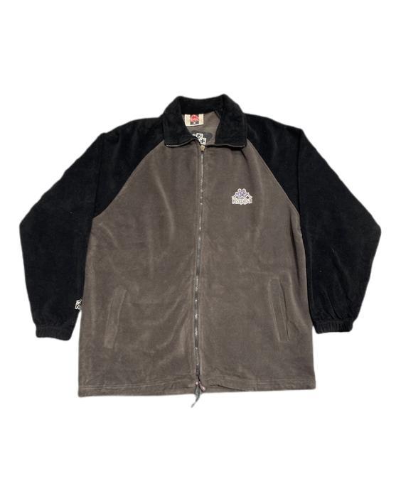 (M) 90s Kappa Fleece Black/Grey Track Jacket 091521 LM