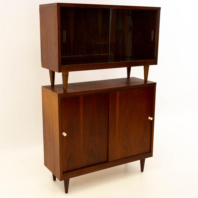 Crescent Furniture 2 Piece Walnut Console Cabinet