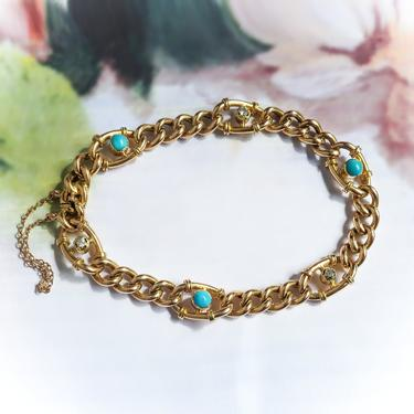 Vintage Turquoise Diamond Link Bracelet 15ct Yellow Gold Fits 7 Inch Wrist by YourJewelryFinder