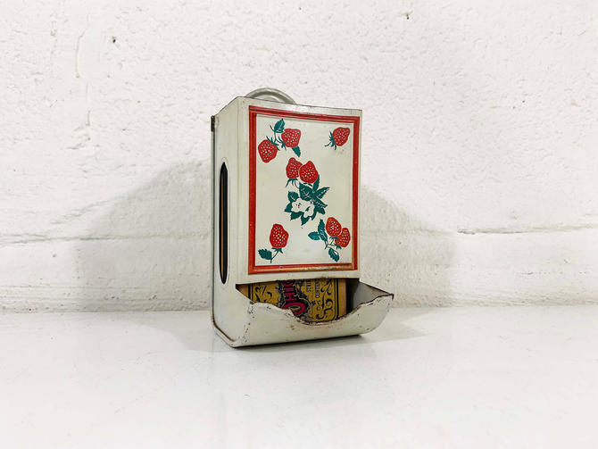 Vintage Strawberry Metal Match Safe Well Holder Pink Red White Green Mid-Century Antique Tin Strawberries Rustic Americana Kitsch Kitchen by CheckEngineVintage