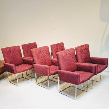 Mid-century Modern Burgundy Milo Baughman for Thayer Coggin Captain Dining Chairs - Set of 6 by XcapeVintage