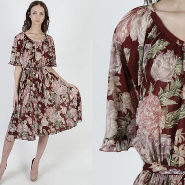 Lightweight Burgundy Floral Dress / Vintage 70s Sheer Belted Waist / Gather Elastic Flutter Sleeves Midi Maxi Dress With Matching Belt by americanarchive