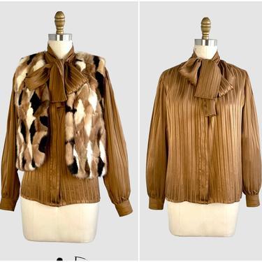 RIVE GAUCHE Yves Saint Laurent Vintage 70s Tie Bow Silk Blouse | 1970s YSL Bronze Stripe Shirt Top | Paris France, Designer | Size Medium by lovestreetsf
