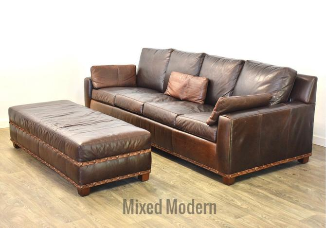 Stickley Leather Sofa and Ottoman by mixedmodern1