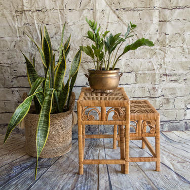 SHIPPING NOT FREE!!! Vintage Wicker Peacock Stackable Small Tables/ Plant Stands by WorldofWicker