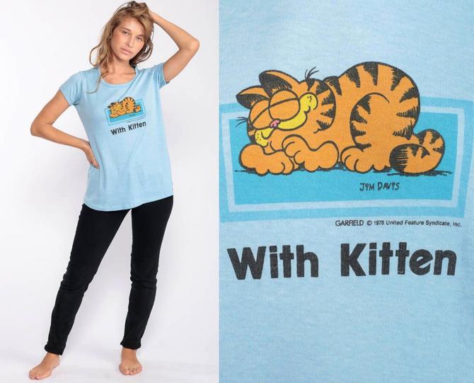 8e3ddb6acf6a6 Vintage Maternity Shirt Garfield Shirt WITH KITTEN Shirt 80s Pregnancy  TShirt Retro T Shirt 1980s Top