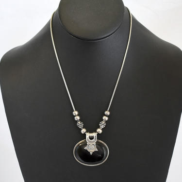 70's sterling onyx Byzantine affixed pendant beaded bib necklace, big black stone & 925 silver beads on snake chain tribal hippie statement by BetseysBeauties