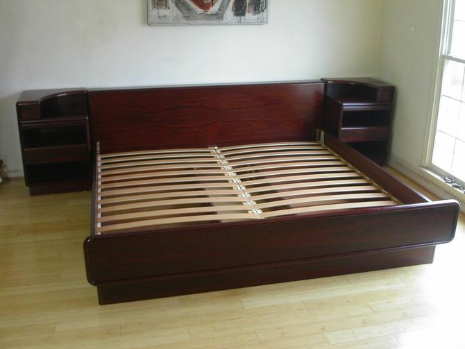 King Size Brazilian Rosewood Platform Bed With Attached Nightstands + 2 Under Bed Storage by Brouer / MCM Mid Century Call 571-330-0810 by RetroSquad