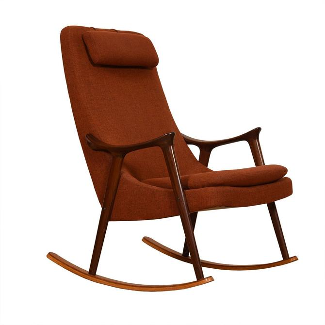 Danish Modern Teak 'Burnt Orange' Rocking Chair