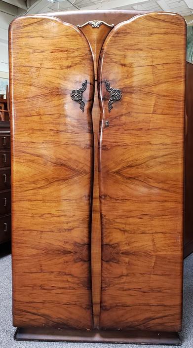 Item #MA133 Walnut Deco Armoire c.1930s