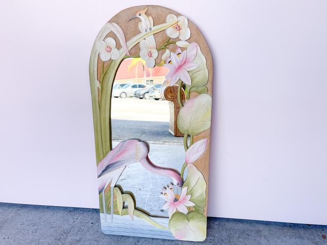 Old Florida Hand Painted Flamingo Mirror