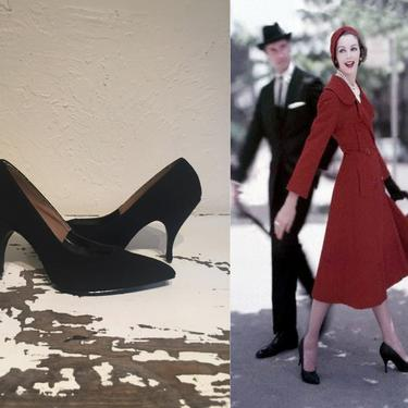 He'd Have to Keep an Eye on Her - Vintage 1950s 1960s Black Nubuck Stiletto High Heels Shoes Pumps - 8.5 by RoadsLessTravelled2