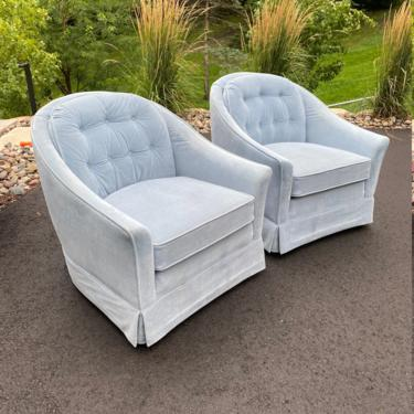 Vintage Blue Velvet Club Chairs - a Pair by LittleChairShop