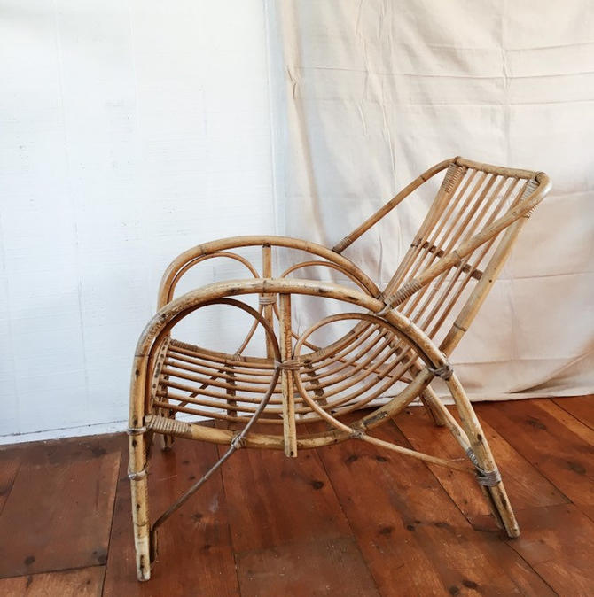 Rattan Scoop Chair, bamboo chair, vintage rattan lounge chair, shipping is not free by VintageandSwoon