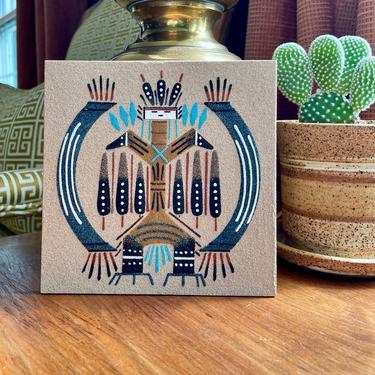 Vintage Navajo, Native American Sand Painting Tile, Art, Wall Hanging 6x6 - Indigenous, Southwestern, Boho, Yei Be Chei, Healing Spirit God by VenerablePastiche