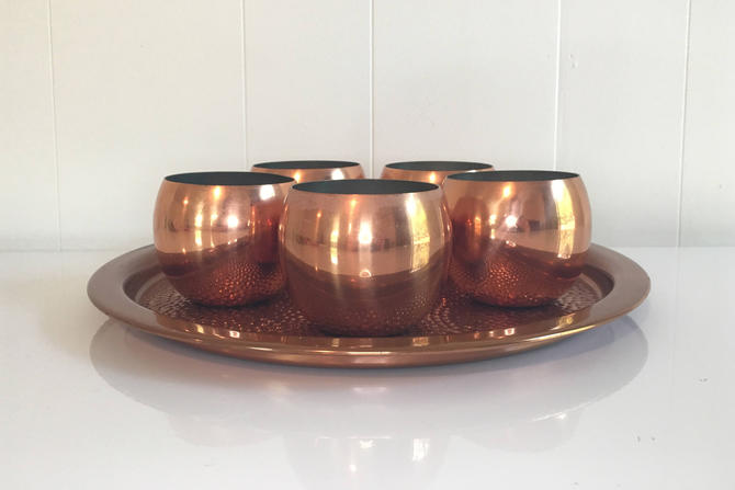 Vintage CopperCraft Guild Taunton Mass Copper Aluminum Roly Poly Cups With Tray Set Of 5 Roly Polys Mid-Century MCM Retro Barware Drinkware by CheckEngineVintage