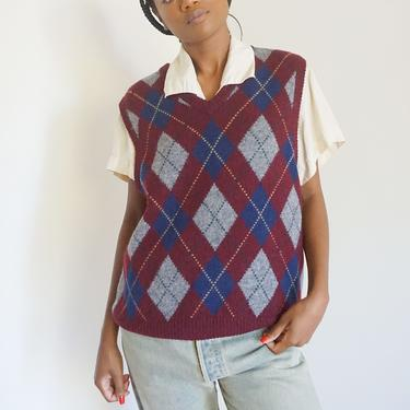 1990s Ralph Lauren Polo Wool Blend Argyle Burgundy Sweater Vest S M L Preppy Printed Oversized by backroomclothing