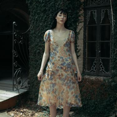 RARE C. 1920s art deco floral printed silk chiffon and lace dropwaist dress OOAK by DevoreVintage
