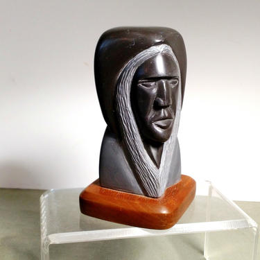 NATIVE STONE CARVING Shellee Bercier Male Indian Bust Gray Black Wonder Stone Strong Featured 6x3 Wood Base Signed 94 Stunning by FultonLane