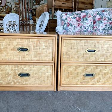Pair of Woven Rattan Night Stands