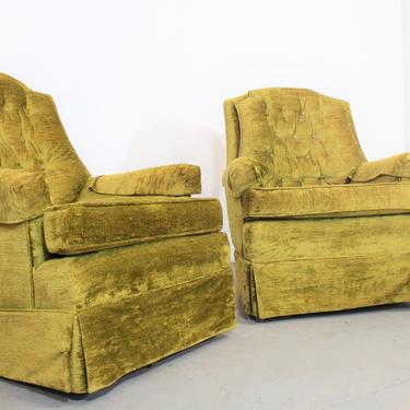 Pair of Mid-Century Modern Tufted Back Club Chairs by AnnexMarketplace