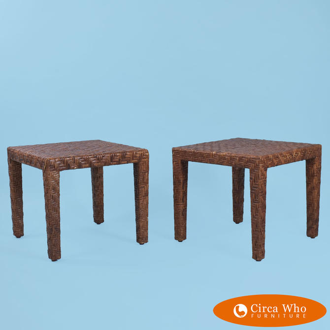 Pair of Petite Rattan Wrapped End Tables
